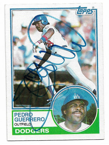 Pedro Guerrero Signed 1983 Topps Baseball Card - Los Angeles Dodgers - PastPros
