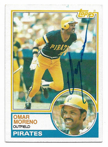 Omar Moreno Signed 1983 Topps Baseball Card - Pittsburgh Pirates - PastPros