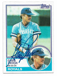 Greg Pryor Signed 1983 Topps Baseball Card - Kansas City Royals