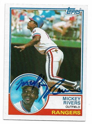 Mickey Rivers Signed 1983 Topps Baseball Card - Texas Rangers - PastPros
