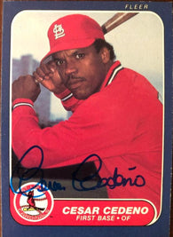 Cesar Cedeno Signed 1986 Fleer Baseball Card - St Louis Cardinals - PastPros