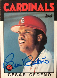 Cesar Cedeno Signed 1986 Topps Baseball Card - St Louis Cardinals - PastPros