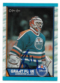 Grant Fuhr Signed 1989-90 O-Pee-Chee Hockey Card - Edmonton Oilers - PastPros