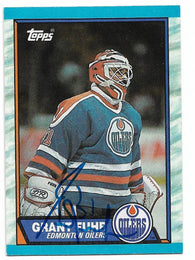 Grant Fuhr Signed 1989-90 Topps Hockey Card - Edmonton Oilers - PastPros