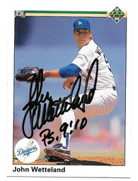 John Wetteland Signed 1990 Upper Deck Baseball Card - Los Angeles Dodgers - PastPros