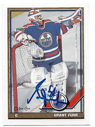 Grant Fuhr Signed 1991-92 O-Pee-Chee Hockey Card - Edmonton Oilers - PastPros