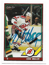 Kirk Muller Signed 1991-92 OPC O-Pee-Chee Hockey Card - New Jersey Devils - PastPros