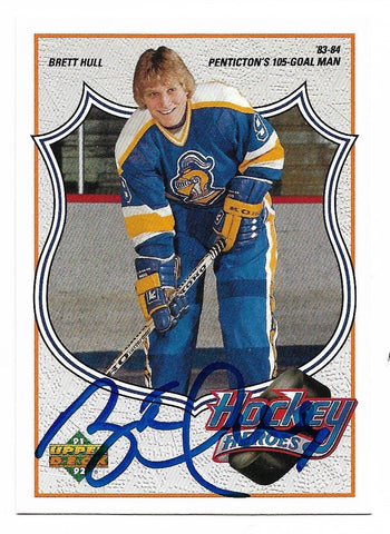 Brett Hull Signed 1991-92 Upper Deck Hockey Card - Hockey Heroes #1 - PastPros