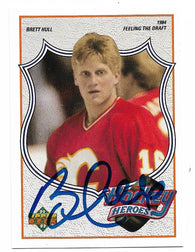 Brett Hull Signed 1991-92 Upper Deck Hockey Card - Hockey Heroes #2 - PastPros