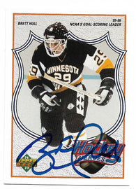 Brett Hull Signed 1991-92 Upper Deck Hockey Card - Hockey Heroes #3 - PastPros