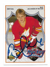 Brett Hull Signed 1991-92 Upper Deck Hockey Card - Hockey Heroes #4 - PastPros