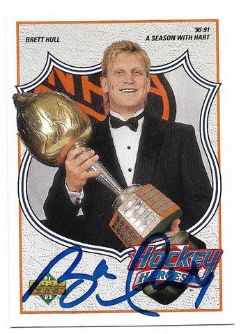 Brett Hull Signed 1991-92 Upper Deck Hockey Card - Hockey Heroes #8 - PastPros