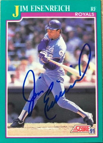 Jim Eisenreich Signed 1991 Score Baseball Card - Kansas City Royals - PastPros
