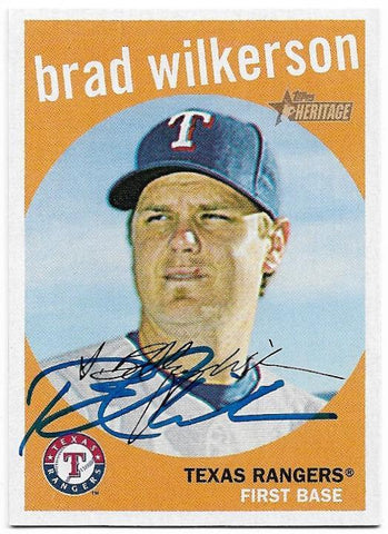 Brad Wilkerson Signed 2008 Topps Heritage Baseball Card - Texas Rangers - PastPros