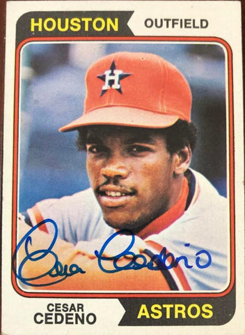 Cesar Cedeno Signed 1974 Topps Baseball Card - Houston Astros - PastPros
