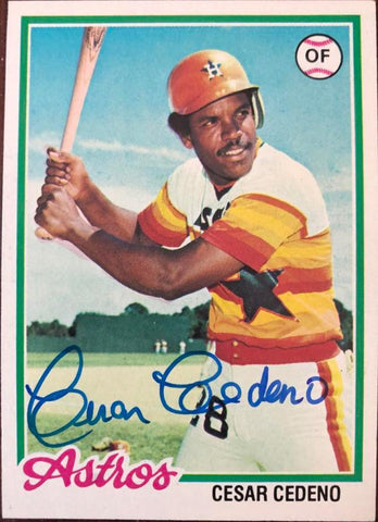 Cesar Cedeno Signed 1978 Topps Baseball Card - Houston Astros - PastPros