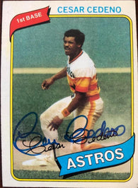 Cesar Cedeno Signed 1980 Topps Baseball Card - Houston Astros - PastPros