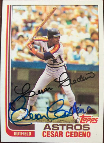 Cesar Cedeno Signed 1982 Topps Baseball Card - Houston Astros - PastPros