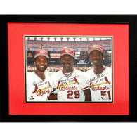 Three Amigos: Vince Coleman, Willie McGee & Ozzie Smith Signed 8×10 Color Photo