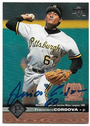 Francisco Cordova Signed 1997 Upper Deck Baseball Card - Pittsburgh Pirates - PastPros