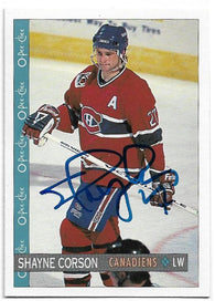 Shayne Corson Signed 1992-93 O-Pee-Chee Hockey Card - Montreal Canadiens
