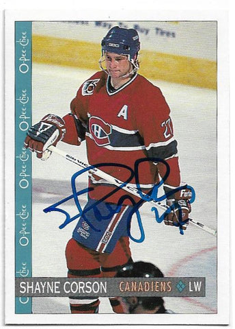 Shayne Corson Signed 1992-93 O-Pee-Chee Hockey Card - Montreal Canadiens - PastPros