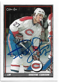 Shayne Corson Signed 1991-92 O-Pee-Chee Hockey Card - Montreal Canadiens