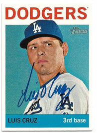 Luis Cruz Signed 2013 Topps Heritage Baseball Card - Los Angeles Dodgers - PastPros