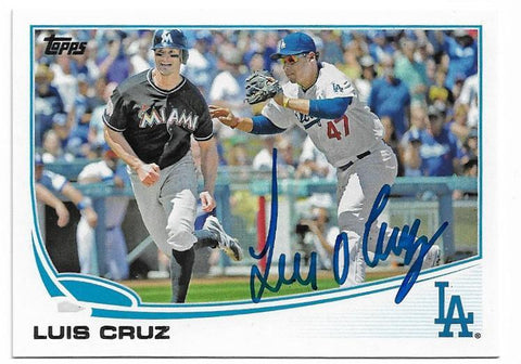 Luis Cruz Signed 2013 Topps Baseball Card - Los Angeles Dodgers - PastPros