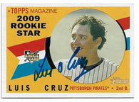 Luis Cruz Signed 2009 Topps Heritage Baseball Card - Pittsburgh Pirates