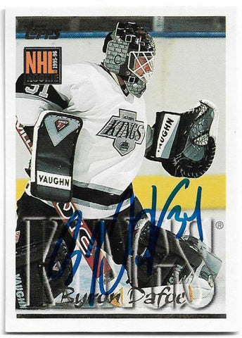 Byron Dafoe Signed 1995-96 Topps Hockey Card - Los Angeles Kings - PastPros