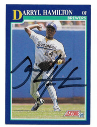 Darryl Hamilton Signed 1991 Score Baseball Card - Milwaukee Brewers - PastPros