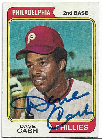 Dave Cash Signed 1974 Topps Baseball Card - Philadelphia Phillies