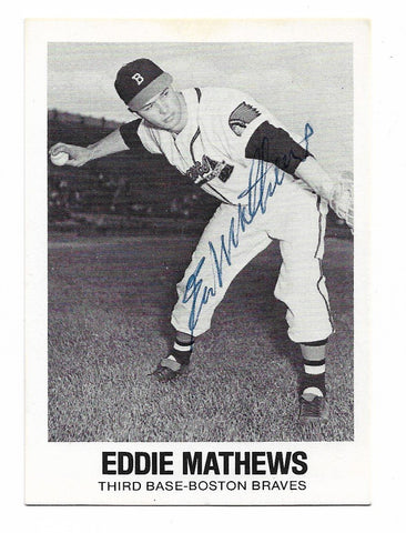 Eddie Matthews Signed 1977 Renata Galasso Baseball Card - Boston Braves