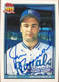 Jim Eisenreich Signed 1991 Topps Baseball Card - Kansas City Royals - PastPros