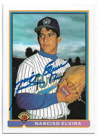 Narciso Elvira Signed 1991 Bowman Baseball Card - Milwaukee Brewers - PastPros