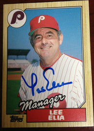 Lee Elia Signed 1987 Topps Baseball Card - Philadelphia Phillies - PastPros
