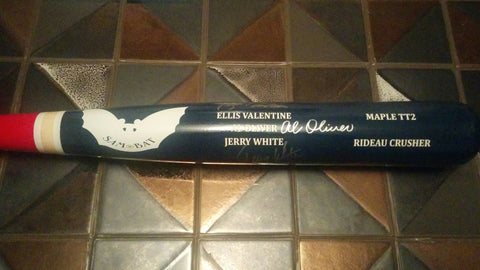 Al Oliver, Ellis Valentine, Jerry White Signed Bat