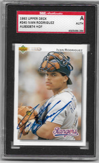 Ivan Rodriguez Signed 1992 Upper Deck Baseball Card - Texas Rangers - SGC Certified