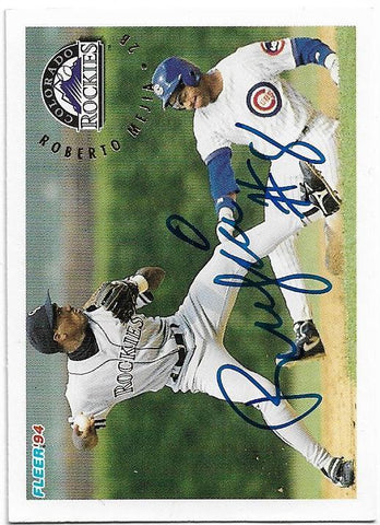 Roberto Mejia Signed 1994 Fleer Baseball Card - Colorado Rockies - PastPros