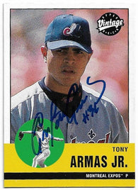 Tony Armas Jr Signed 2001 Upper Deck Vintage Baseball Card - Montreal Expos - PastPros