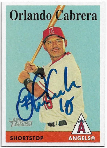 Orlando Cabrera Signed 2007 Topps Heritage Baseball Card - Anaheim Angels - PastPros