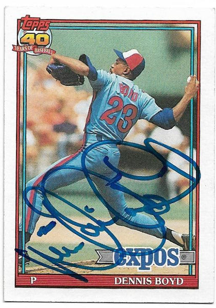 Dennis 'Oil Can' Boyd Signed 1991 Topps Baseball Card - Montreal Expos