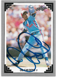 Oil Can Boyd Signed 1991 Leaf Baseball Card - Montreal Expos - PastPros