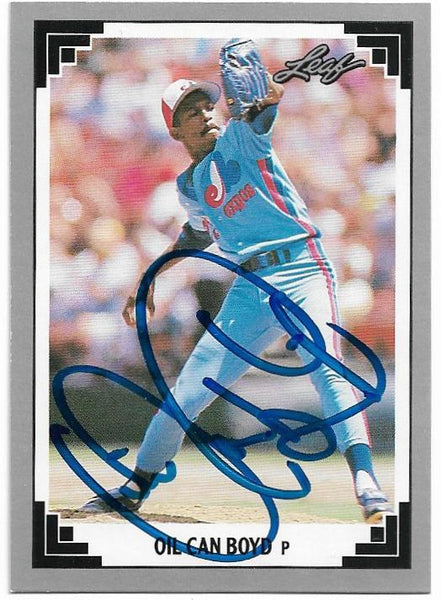 Oil Can Boyd Signed 1991 Leaf Baseball Card - Montreal Expos