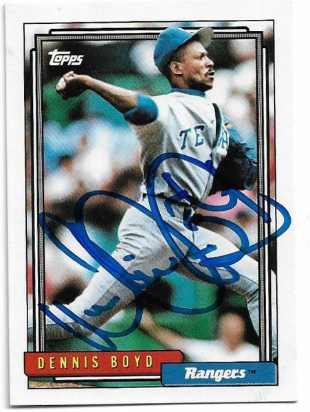 Dennis 'Oil Can' Boyd Signed 1992 Topps Baseball Card - Texas Rangers
