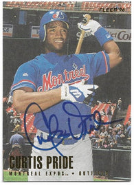 Curtis Pride Signed 1996 Fleer Baseball Card -  Montreal Expos