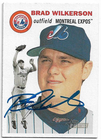 Brad Wilkerson Signed 2003 Topps Heritage Baseball Card Montreal Expos