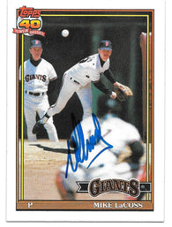 Mike Lacoss Signed 1991 Topps Baseball Card - San Francisco Giants