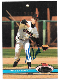 Mike Lacoss Signed 1991 Topps Stadium Baseball Card - San Francisco Giants